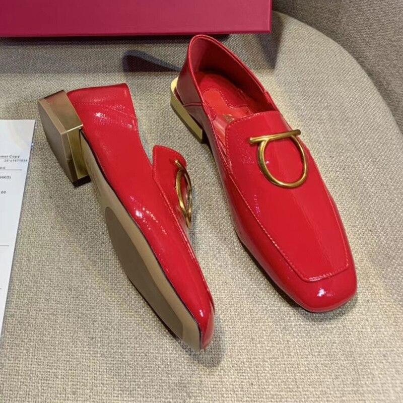 Et En Rétro Sexy Femmes Ronde Chaussures Carré Buck De Luxe Marque Verni Usure Tête Cuir Automne Classique Femme 2 Printemps Vache n07qC