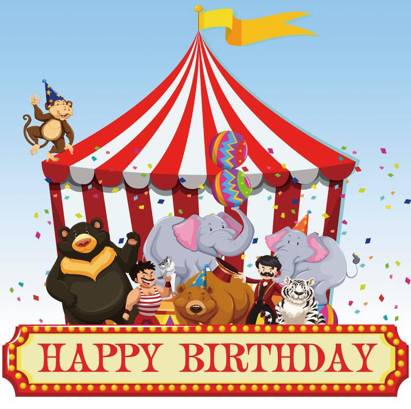 Laeacco Baby Cartoon Circus Cruise Tent Animal Figures Birthday Photography Backgrounds Photo Backdrops Photocall Photo Studio
