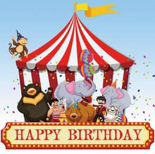 Laeacco Baby Cartoon Circus Cruise Tent Animal Figures Birthday Photography Backgrounds Photo Backdrops Photocall Studio