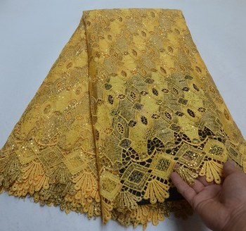 High Quality Yellow color french Guipure tulle lace fabrics 2019 New Arrivals African Net Lace Fabric Nigeria Sequins Lace .