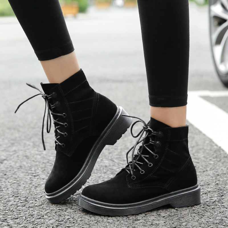 2018 Genuine Leather Ladies Boots Plus Size Shoes Martin boots Woman Boots Solid Lace Up Women Casual Shoes Comfort Winter Boots women fashion ankle boots plus size lace up casual shoes woman martin boots for spring autumn winter hh222 2