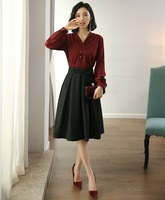 Fashion Ladies Blouses & Shirts Women Business Suits with Skirt and Top Sets Work Wear Clothes OL Wine Red