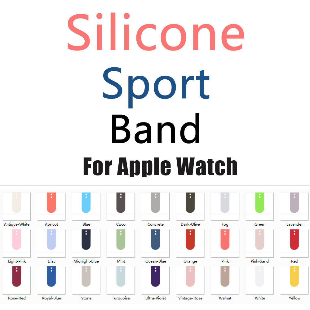 2017 New Colors Dark Olive Rose Red Silicone Sport Band for Apple Watch Band Series 1 Series 2 Series 3