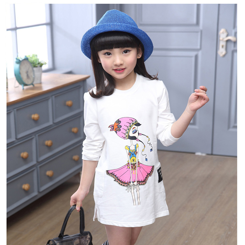 2016 long t shirts dresses for girls character long sleeve spring summer autumn white gray dress kids clothes girls tops tees