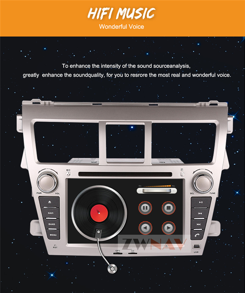 Perfect ZWNAV Android 8.0 Car Stereo Radio DVD Player GPS Navigation For TOYOTA Yaris Sedan 2006-2012 Vios 2007-2012 Belta 2005-2008 2