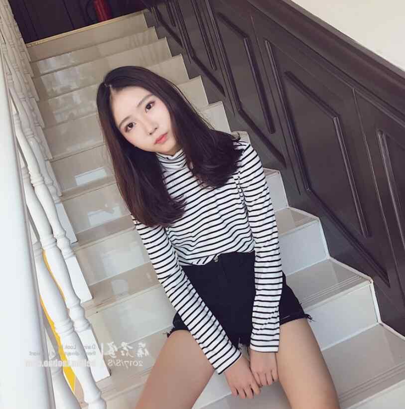 Черно-белые полосатые свободные футболки для повседневного ношения Водолазка женская футболка 2018 летняя Модная элегантная женская футболка с длинными рукавами большой размер
