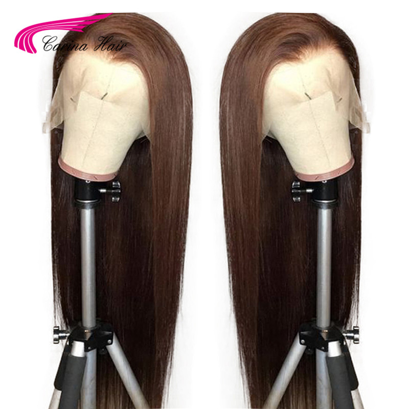 Carina Lace Front Human Hair Wigs Straight Dark Brown Color 13X6 Lace Front Hair Wigs With