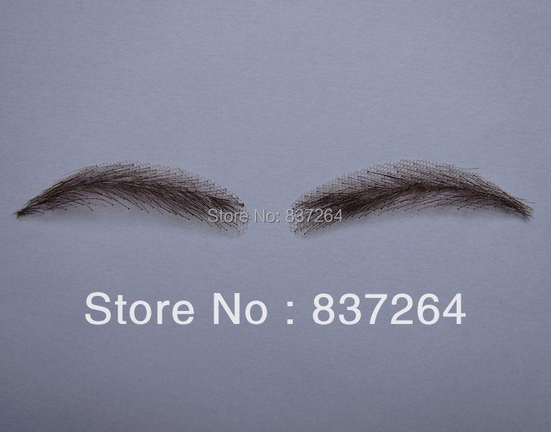 ФОТО whole sale 0116 hand made human hair hand knot fake eyebrow 2# color dark brown color