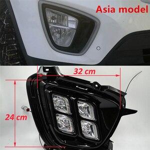 Image 2 - Araba yanıp sönen 1 takım KIA Sorento 2015 2016 2017 için LED DRL gündüz çalışan far günışığı su geçirmez 12v sis lambası araba Styling