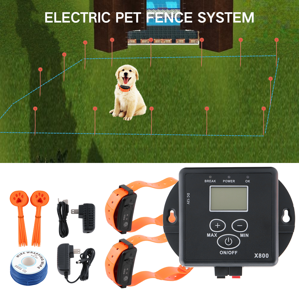 Underground Electric Dog Fence Kit for 2 Dogs Waterproof Rechargeable Remote Shock Dog Training Collars Pet