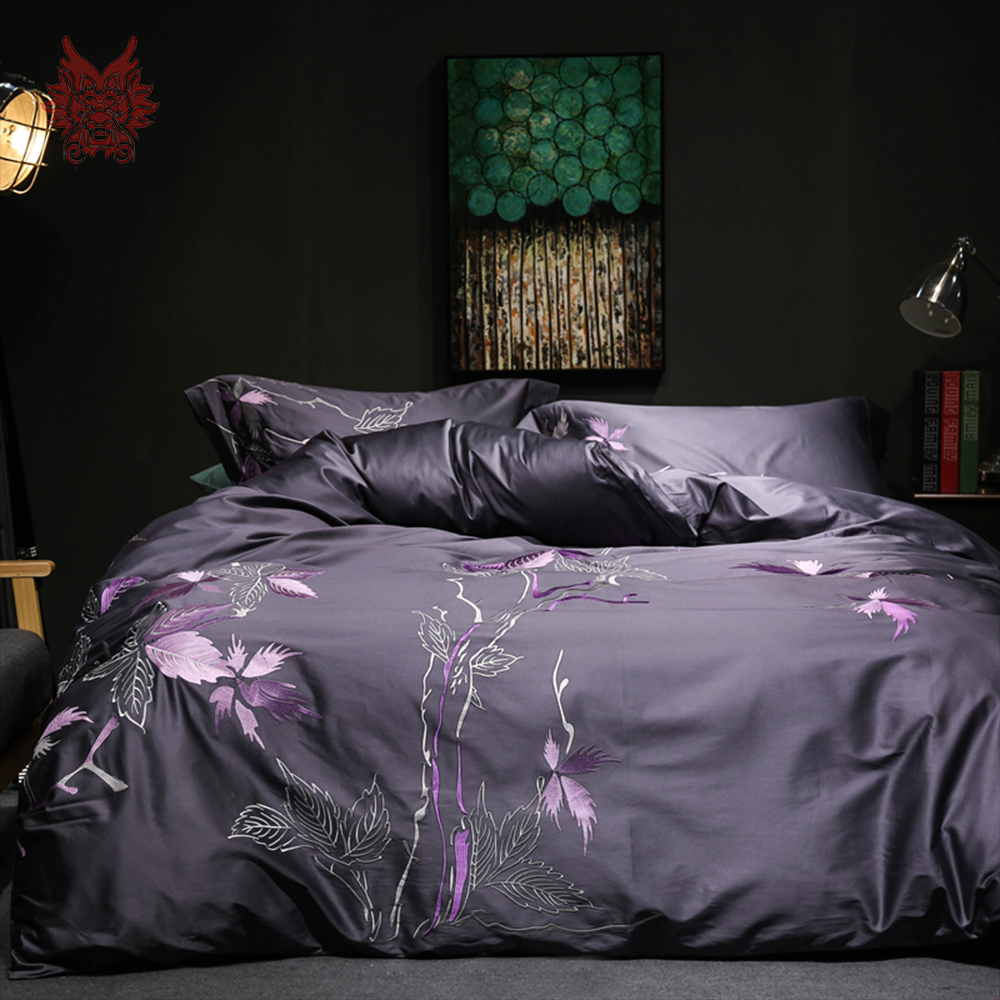 American leaves embroidery heavyweight 100% cotton tribute silk bedding sets purple white duvet cover set ropa de cama SP4426
