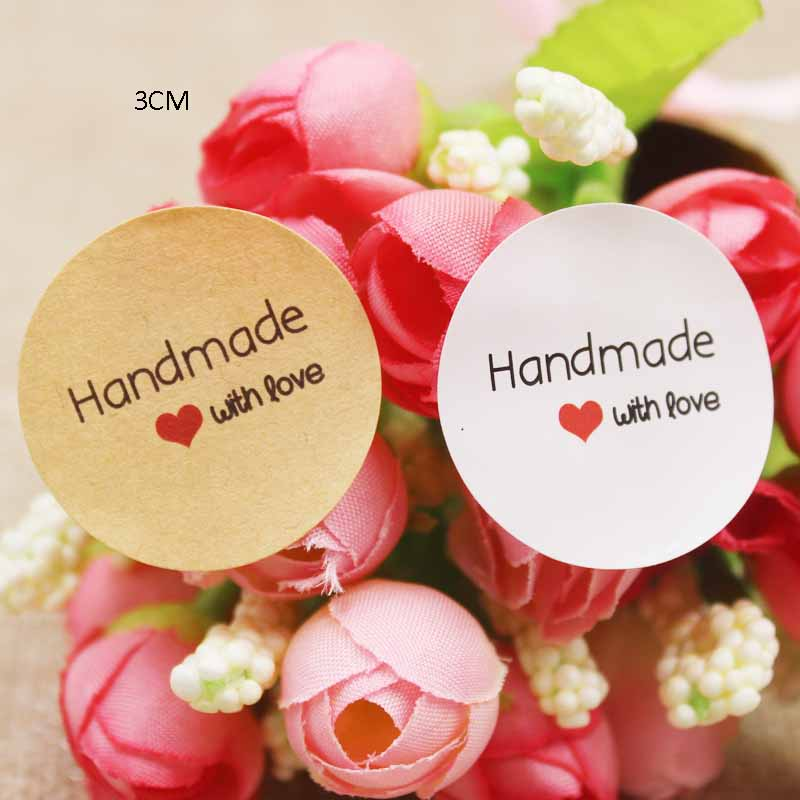 3cm Round Handmade Red Heart Seal Labels Pink/yellow/green Paper Self Adhesive Handmade Sticker Labels 100pcs Per Lot