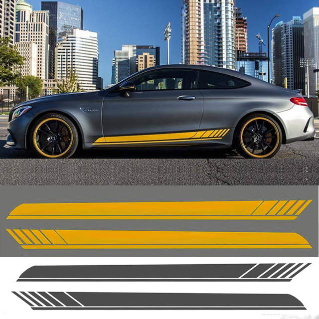 2pcs KK car side body sticker For Mercedes benz AMG C63 CLA GLE A45 C E  Glass