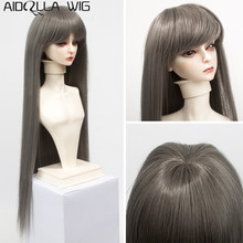 Fits 1/3 1/4 1/6 BJD SD Doll Wigs Long Straight Brown Red Khaki White Hair for Girl Doll Heat Resisitant Synthetic Fiber
