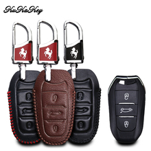 цены KUKAKEY Genuine Leather Car Key Case Cove For Citroen DS3 DS4 DS5 DS6 For Peugeot 508 301 2008 3008 4008 407 408 Smart Key