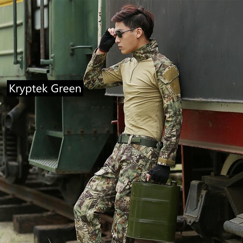 Outdoor Hunting Camouflage Uniform Combat Shirt Tactical Pants with Knee Pads Kryptek Camo M/L/XL/XXL сумка спортивная adidas combat camo bag m камуфляжно оранжевая adiacc053 m
