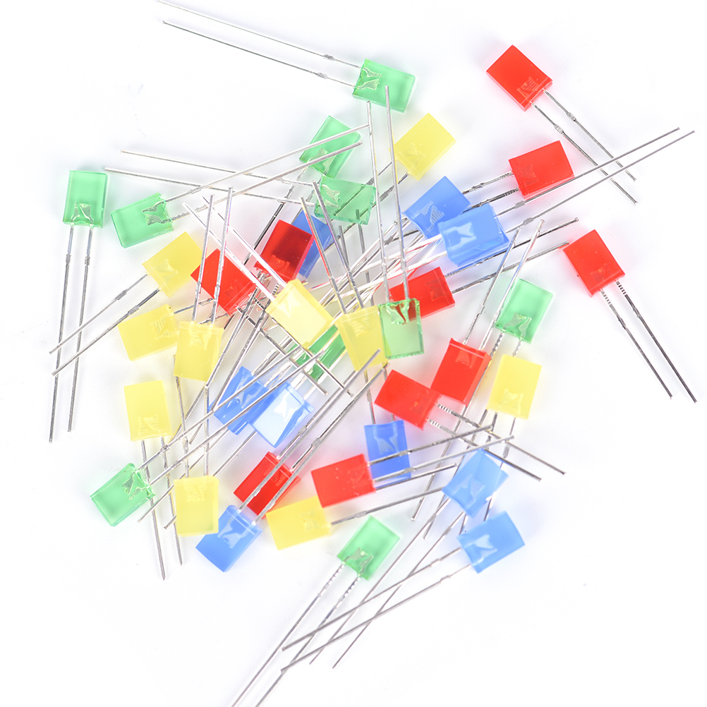 Hot Sale Best Promotion 100pcs Rectangular Square Led Emitting Light Diode Electrical Circuits Diodes Leds Bulbs Water Clear Yellow Red Blue Green