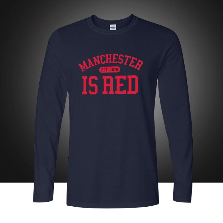 Őszi divatstílus Egyesült Királyság Piros levél nyomtatott pamut hosszú ujjú pólók Férfi Manchester Tops Tee Camisa Plus Size
