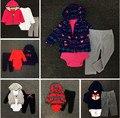 Nueva Carter Ropa del muchacho fijaron Traje Sistemas de la Ropa de Algodón Recién Nacido bebes Bebé de la muchacha Del Partido baby Girl Niños ropa de Moda conjunto