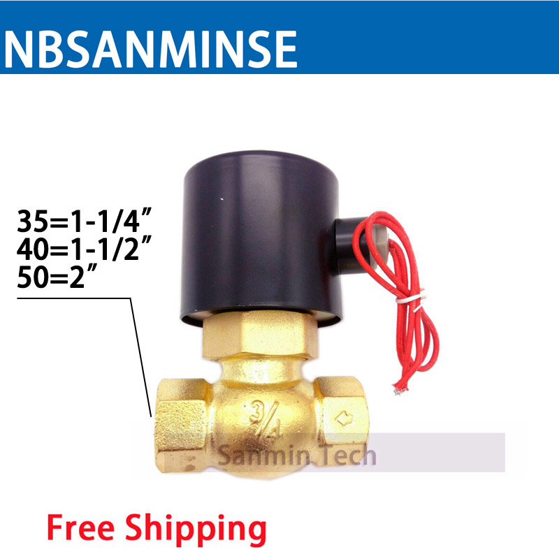 NBSANMINSE High Temperature Steam Valve US 1-1/4 1-1/2 2 Brass Solenoid Valve Air Valve for Water Oil Air Gas 2018 brass electric solenoid valve 2w 200 20 3 4 inch npt for air water valve 110v nc