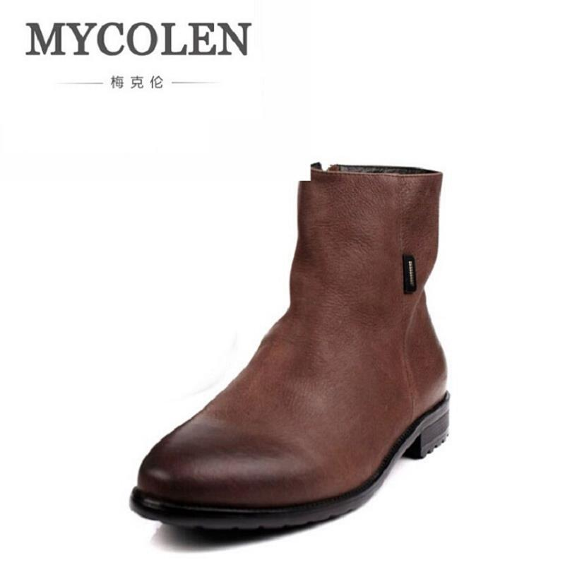MYCOLEN Brown / Black Pointed Toe Chelsea Boots Zipper Mens Ankle Boots Genuine Leather Rivet Men's Dress Shoes Men Chuteira farvarwo formal retro buckle chelsea boots mens genuine leather flat round toe ankle slip on boot black kanye west winter shoes