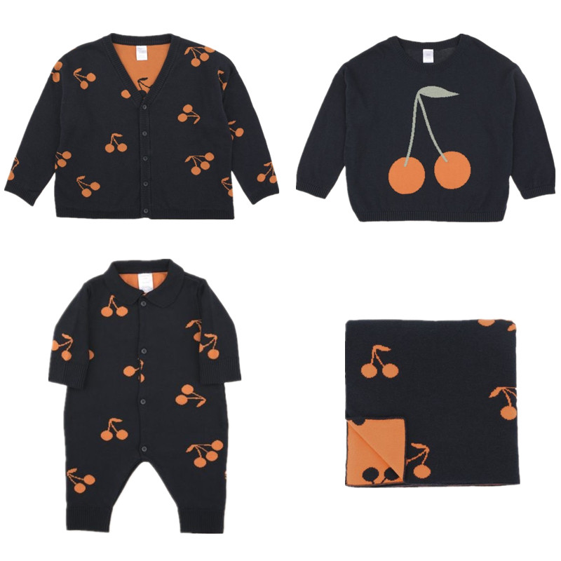 Ropa de los niños Otoño Invierno algodón minúsculo bebé niños niñas ropa de punto cerezas suéteres mameluco del bebé Manta