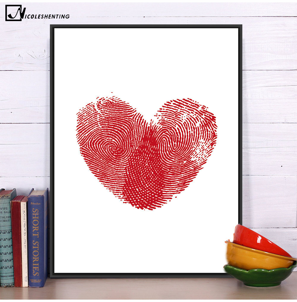 Nordic Art Red Heart Fingerprint Canvas Poster Minimalist Painting Abstract  Wall Picture Print Modern Home Baby Room Decoration In Painting U0026  Calligraphy ...