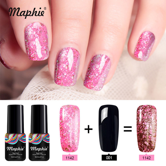 Maphie 2pcs Lot Rose Gold Uv Nail Gel Set Diy Nail Design Glitter