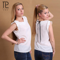 New Arrived Summer Women Shirts Chiffon Tops White Sleeveless Blouses Fashion Office Top For Women White