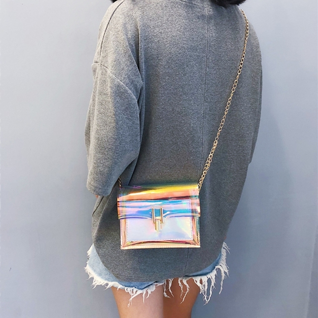 JIAOO Laser Transparent Bags Fashion Women Crossbody Bags for Women Korean Style Shoulder Bag Messenger PVC Waterproof Beach Bag 4