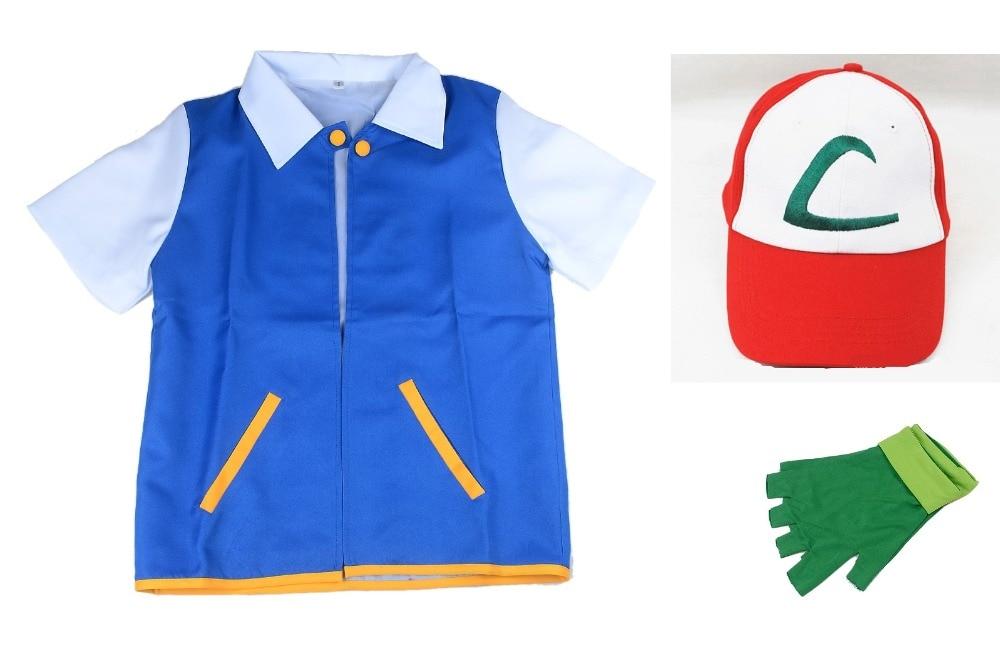High Quality Pokemon Ash Ketchum Cosplay Costume Blue Jacket + Gloves + Hat Ash Ketchum Costumes Free shipping