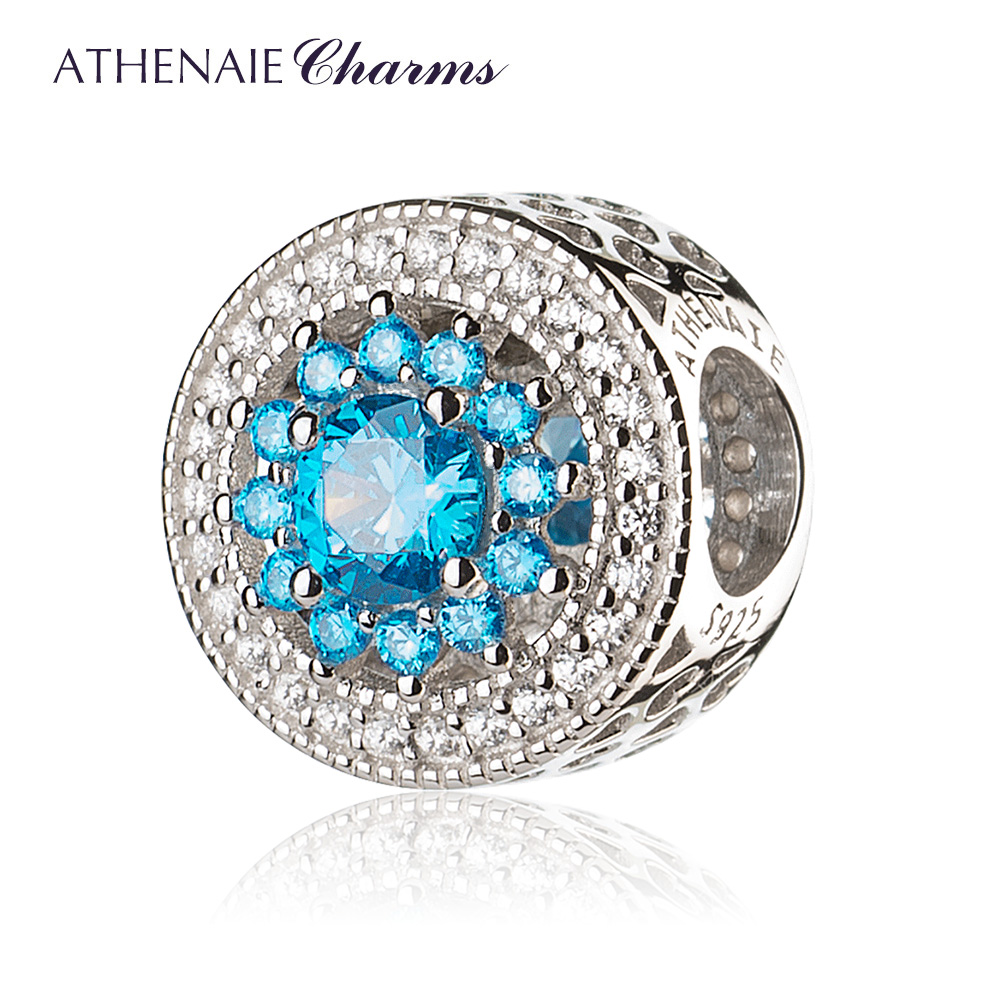 цена ATHENAIE Christmas Gift 925 Sterling Silver with Pave Clear CZ & Blue Heart Radiant Openwork Charm Beads