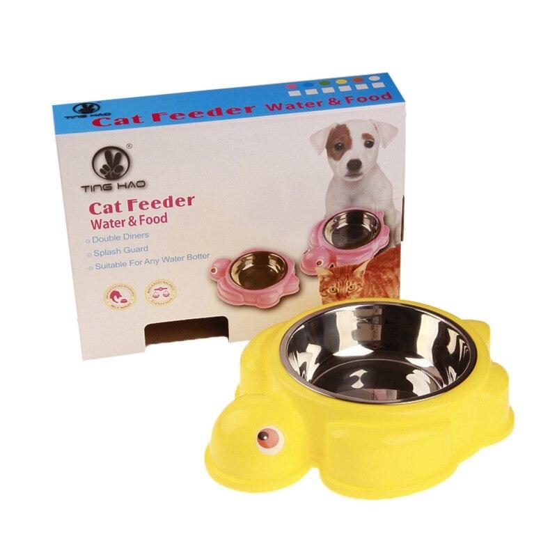 Краб форма черепаха питатель для домашних животных миски для собак еда противоскользящая одинарная пищевая чаша для воды товары для щенков - Цвет: Цвет: желтый