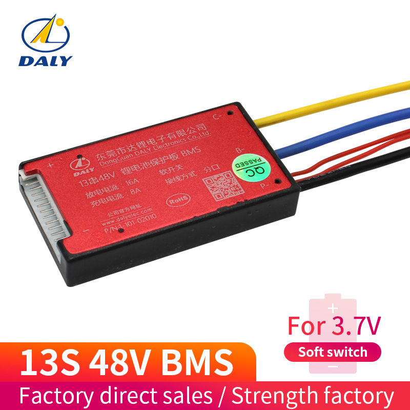 Daly Waterproof Smart PCB BMS 13S 48v Li-ion Bms 15A Continuous Current With Balanced Function And ON/OFF Switch