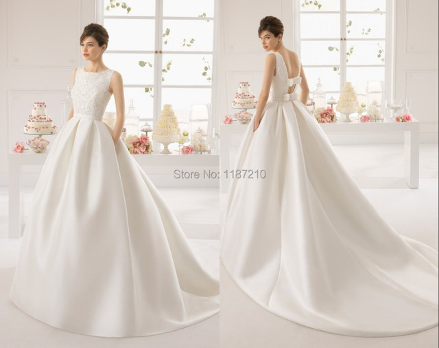 Customed Chapel Train Wedding Dresses 2015 Discount Beading Bow ...