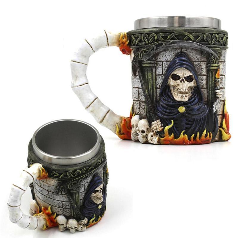 halloween Party Bar Skull 3D Mug Double layer Stainless Steel 3D the god <font><b>of</b></font> <font><b>death</b></font> mug Coffee Bottle <font><b>Tea</b></font> Drinking <font><b>Cup</b></font> Milk Cup35