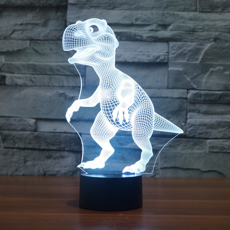 Novelty Touch Switch Desk Light Night Colorful USB LED Table Acrylic Lamp 3D Illusion Dinosaur For Home Decor IY803330 In Lights From