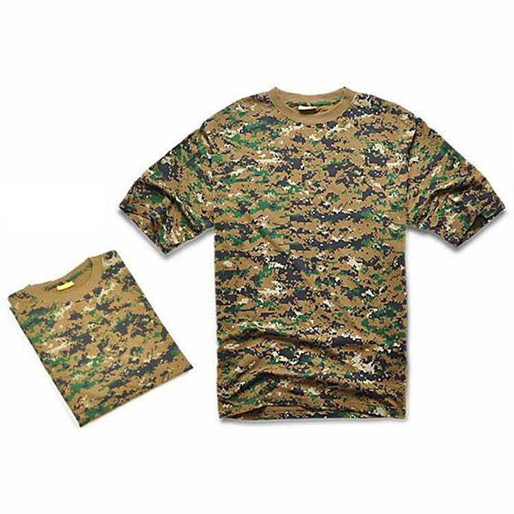 ELOS-Outdoors Hunting Camouflage T-shirt Men Army Tactical Combat T Shirt Military Dry Sport Camo Outdoor Camp Tees JD L