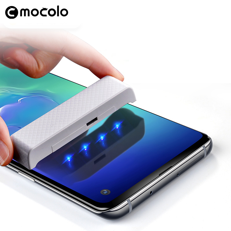 For Samsung S10 Screen Protector Mocolo Note 10 Liquid Glued 3D Curved UV Tempered Glass For Samsung S10 Plus Screen Protector