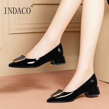 Women Shoes Black Heels Pumps Pointed Toe Leather Ladies Work Shoes Metal Decoration Single Shoes 2017 new spring fashion women s wedges single shoes round toe work formal shoes patent leather bow pumps single shoes v746