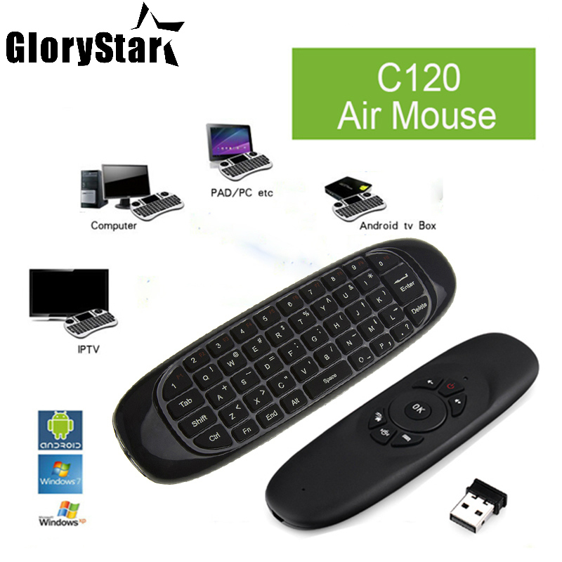2.4Ghz Fly Air Mouse Wireless Keyboard C120 T10 gamer 3 axes Gyroscope Remote Control Fo ...