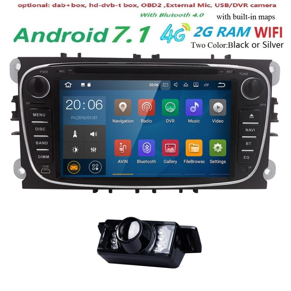 7Android 7.1 Black Sliver Car DVD Player AutoRadio Audio For Ford Focus 2 Mondeo S CMax Fiesta Galaxy Fusion 2006-2011 GPS Navi