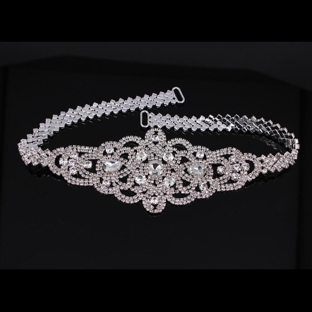 Handmade Silver Bridal Belt Rhinestone Waistband Applique For Evening Prom Dresses Wedding decoration White Beige Sash Ribbon