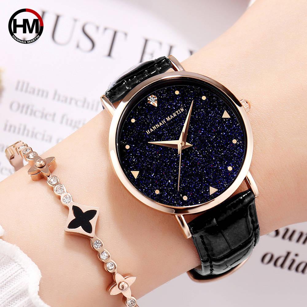 Top Luxury Brand Japanese Original Imported Movement Quartz Watch Ladies Waterproof Leather Flash Star Dial Woman Watch Clock