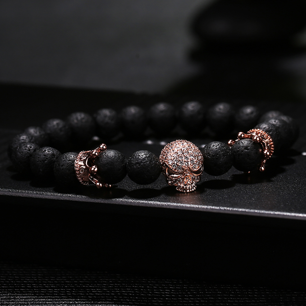 High Quality Men's Bracelet Lava Stone Beads Rose Gold Micro pave CZ Skeleton skull and Crown Bracelet Men's European Jewelry