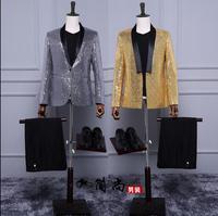 Blazer men formal dress latest coat pant designs suit men slim costume homme terno masculino yellow sequin stage suits for men's