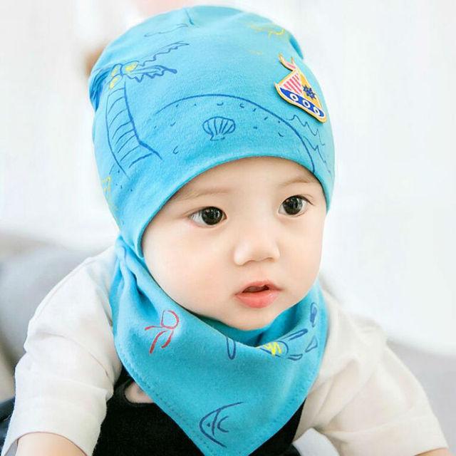 Autumn Winter Baby Beanie Cap Set with Bandana Bib Design Hat Head Scarf  Boy Girl Kids Toddler Clothing Accessories Knit Caps 4988d99bc423