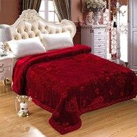 Soft Raschel Bedding Blanket Embroidered Wedding Home Textile Mink Blanket Winter Thick Warm Fluffy Fat Quilt