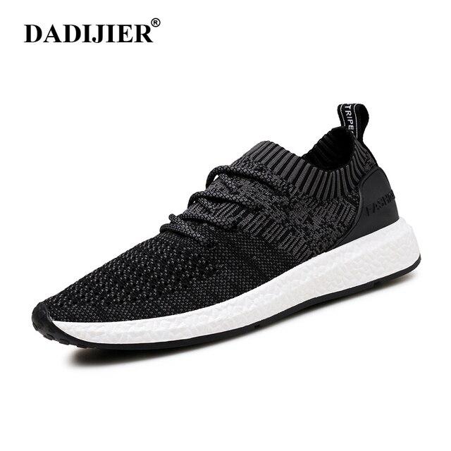 DADIJIER Baru Pria Sepatu Lace up merek Fashion Jala Musim Semi Musim Panas  sepatu Flat Padat f8b0718e65