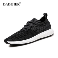 DADIJIER New Men Shoes Lace up Fashion brand Mesh Spring Summer shoes Flats Solid Men Sneakers Casual shoes man ST175